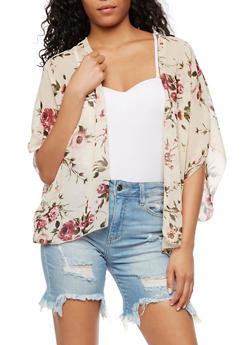 Floral Chiffon Kimono - 3003054268988