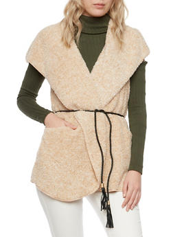 Faux Fur Hooded Vest with Braided Belt - 3003058750004