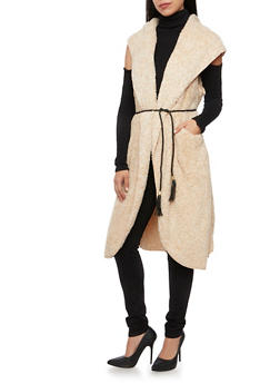 Faux Fur Maxi Vest with Hood and Braided Belt - 3003058750005