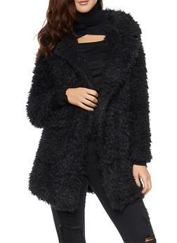 Faux Fur Jacket - BLACK - 3003058750007
