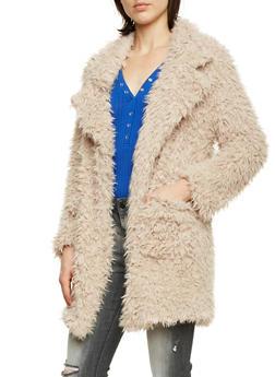 Faux Fur Jacket - ALMOND - 3003058750007