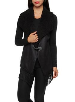 Suede and Faux Fur Vest with Fringe - BLACK - 3003058750008
