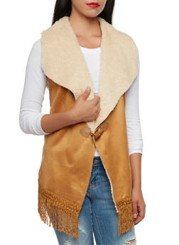 Suede and Faux Fur Vest with Fringe - 3003058750008