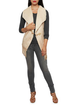 Suede and Faux Fur Vest with Fringe - TAUPE - 3003058750008