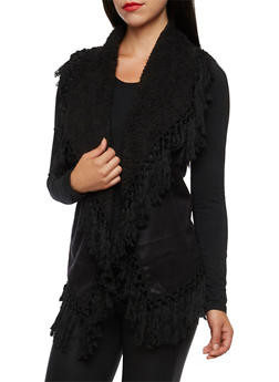 Faux Suede Vest with Knotted Fringe - 3003058750009