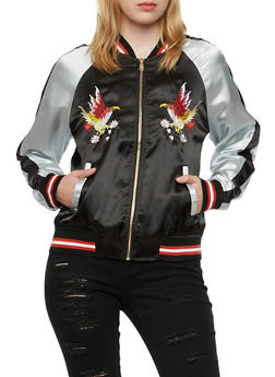 Color Block Bomber Jacket with Bird Embroidery - 3003058750020