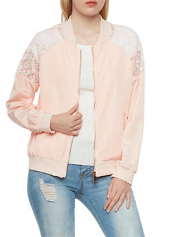 Bomber Jacket with Lace Raglan Sleeve Insets - 3003058750183