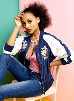 Embroidered Bomber Jacket - 3003058750280