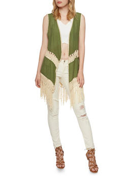 Embroidered Vest with Crochet Fringe Trim - 3003058755972