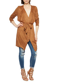 Faux Suede Duster with Belt - 3003058756752