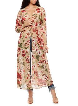 Buttoned Floral Maxi Kimono - 3003067330128