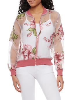 Sheer Bomber Jacket with Floral Print - 3003067330704