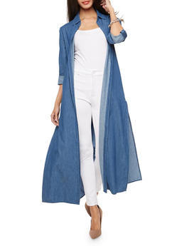 Denim Slit Side Duster - 3003067330834