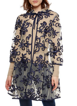 Mesh Cape with Stitched Floral Ribbon Detail - 3003074290117