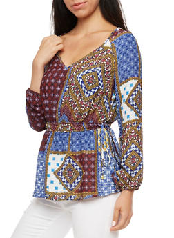 Printed Cinched Waist Blouse - 3005051068689