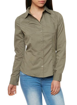 Solid Long Sleeve Button Front Shirt - 3005051068754