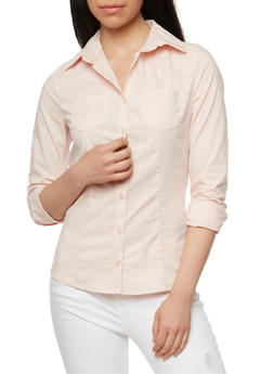 Solid Long Sleeve Button Front Shirt - BLUSH - 3005051068754