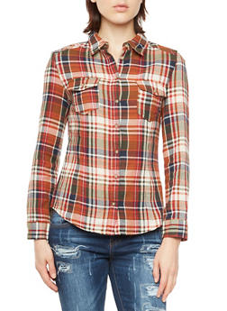 Long Sleeve Plaid Button Front Shirt - 3005054264471