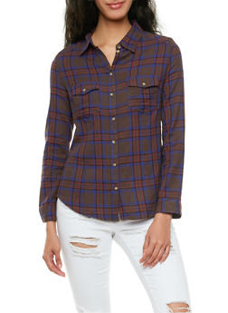 Long Sleeve Plaid Shirt with Chest Pockets - 3005054264472