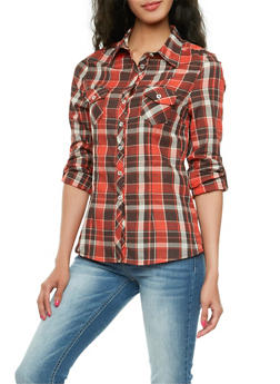 Plaid Button-Up Top with Two Bust Pockets - 3005054264530