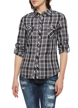 Plaid Shirt with Convertible Sleeves - 3005054264531