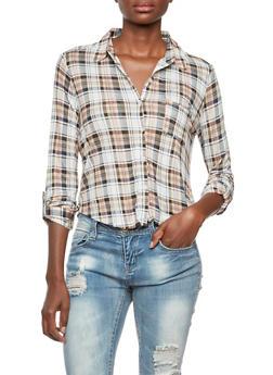 Cropped Plaid Shirt - 3005054267091