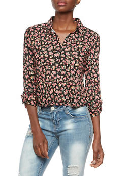 Button-Up Top in Floral Jersey - 3005054267092