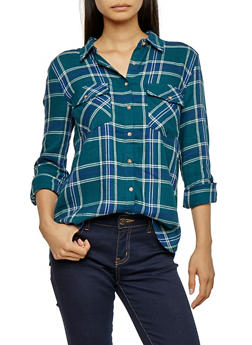 Long Sleeve Button Front Plaid Top - GREEN/NAVY - 3005054268834