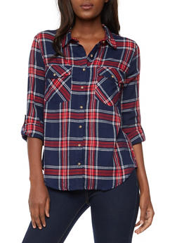 Long Sleeve Button Front Plaid Top - NAVY/RED - 3005054268834