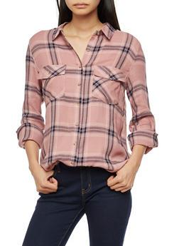Long Sleeve Button Front Plaid Top - MAUVE/NAVY - 3005054268834
