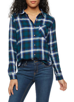 Long Sleeve Plaid Button Front Shirt - 3005054268836