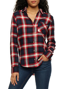 Long Sleeve Plaid Button Front Shirt - NAVY/RED - 3005054268836
