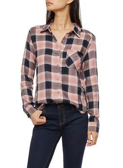 Long Sleeve Plaid Button Front Shirt - MAUVE/NAVY - 3005054268836
