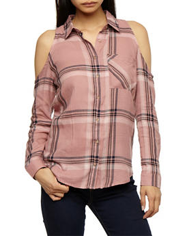 Plaid Cold Shoulder Button Front Top - 3005054269672