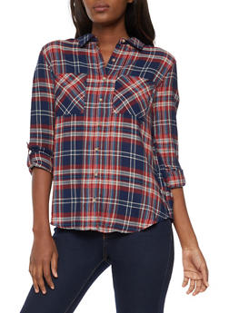 Button Front Plaid Top - 3005054269747