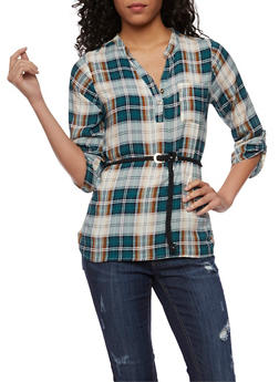 Plaid High Low Top with Braided Belt - TEAL - 3006038348651