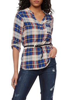 Plaid High Low Top with Braided Belt - NAVY - 3006038348651