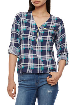 Plaid Half Zip Top with Cuffed Sleeves - NAVY/TEAL - 3006038348653