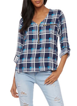 Plaid Half Zip Top with Cuffed Sleeves - DENIM/TURQ - 3006038348653