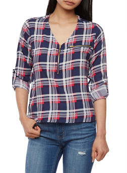 Plaid Half Zip Top with Cuffed Sleeves - DENIM/RED - 3006038348653