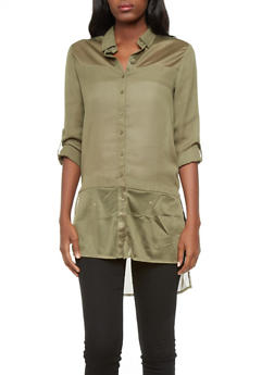 Button Down High Low Tunic with Mesh Insets - 3006051067955