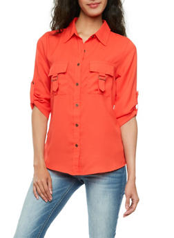 Button Front Chiffon Top with Chest Pockets - 3006064517806
