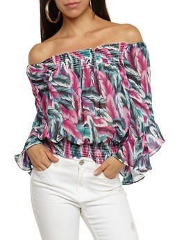 Feather Print Off the Shoulder Smocked Top - 3006067330071