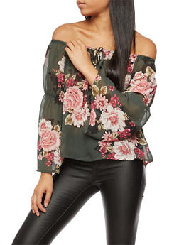 Floral Sheer Bell Sleeves Peasant Top - OLIVE - 3006067330075