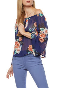 Floral Sheer Bell Sleeves Peasant Top - NAVY - 3006067330075