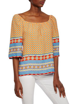 Tribal Print Top with Wide Sleeves and Boat Neck - 3006067331348