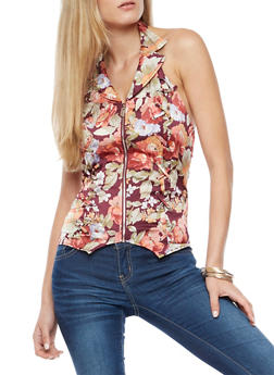 Zip Front Floral Halter Neck Top - 3009051069476