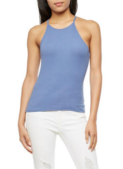 High Neck Ribbed Knit Tank Top - 3010054269319
