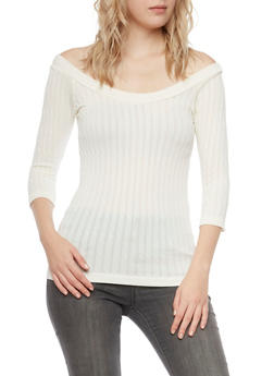 Cable Knit Top with Scoop Neck - 3011038341009