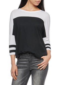 Color Block Dolman Sleeve Top - BLACK/WHT - 3011054265844